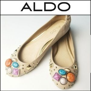 ALDO Nude Flats w/ Embellished Stone Accent!